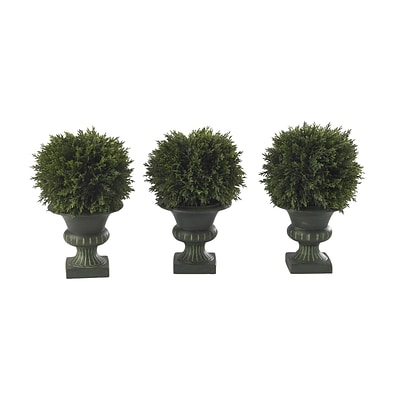 Nearly Natural 4761 9 Cedar Ball Set of 3 Floor Plant in Decorative Vase