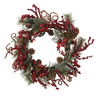 Nearly Natural 4838 24 Assorted Berry Wreath, Red