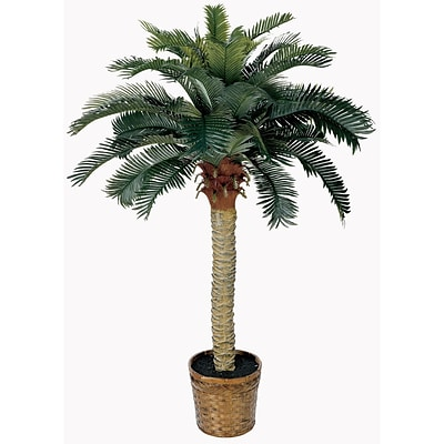 Nearly Natural 5043 4 Sago Silk Palm Tree in Decorative Vase