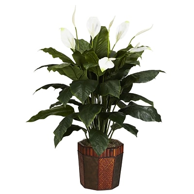 Nearly Natural 6638 Spathyfillum Floor Plant in Decorative Vase