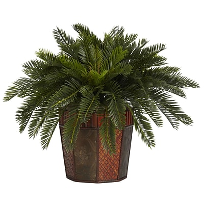 Nearly Natural 6654 Cycas Desk Top Plant in Decorative Vase