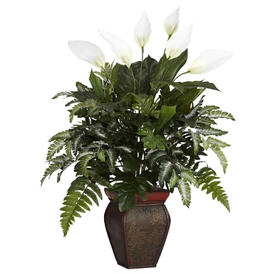 Nearly Natural 6677 Mixed Greens Desk Top Plant in Decorative Vase