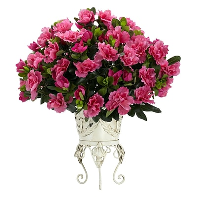 Nearly Natural 6687 Azalea Desk Top Plant in Decorative Vase