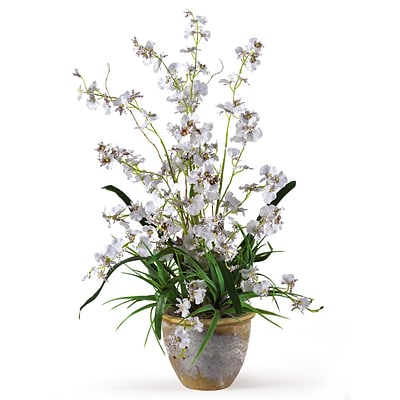 Nearly Natural 1005-WH Dancing Lady Floral Arrangements, White