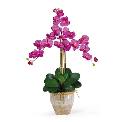 Nearly Natural 1017-OR Triple Phalaenopsis Floral Arrangements, Orchid
