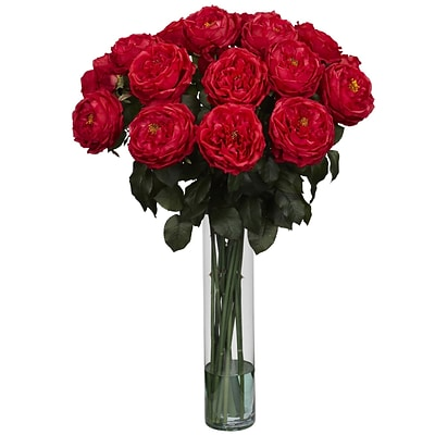 Nearly Natural 1219-RD Fancy Rose Floral Arrangements, Red
