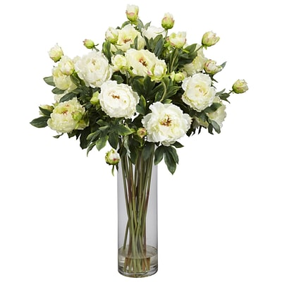 Nearly Natural 1231-WH Giant Peony Floral Arrangements, White