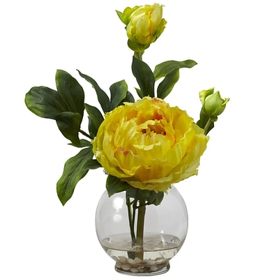 Nearly Natural 1278-YL Peony with Fluted Vase, Yellow