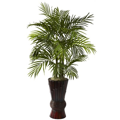 Nearly Natural 6723 4 Areca Floor Plant in Decorative Vase