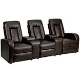 Brown Leather 3-Seat Home Theater Recliners
