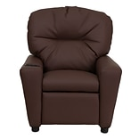 Brown Leather Kids Recliner W/Cup Holder