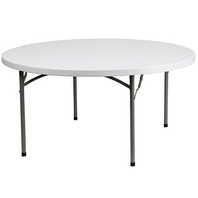 Flash Furniture 59 3/4 Plastic Round Folding Table, Granite White