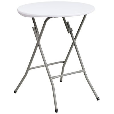 Flash Furniture 24 Plastic Round Folding Table, Granite White
