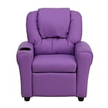 Flash Furniture Contemporary Vinyl Kids Recliner W/Cup Holder and Headrest, Lavender
