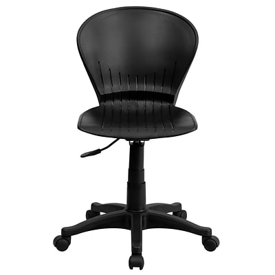 Flash Furniture Plastic Mid-Back Swivel Task Chair, Black
