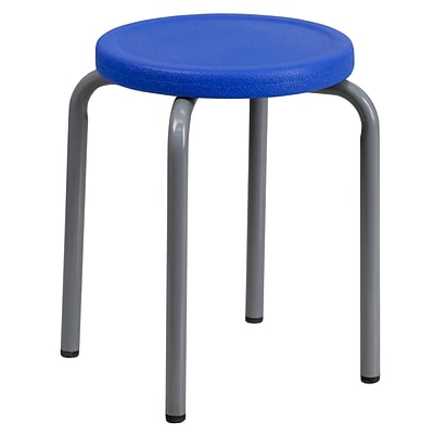 Flash Furniture 17 Plastic Backless Stackable Stool, Blue