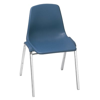 NPS® 8100 Series Poly Shell Stack Chair, Slate Blue/Chrome