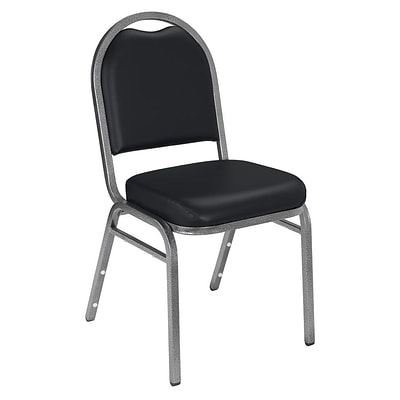 NPS #9210-SV Dome-Back Vinyl Padded Stack Chair, Panther Black/Silvervein