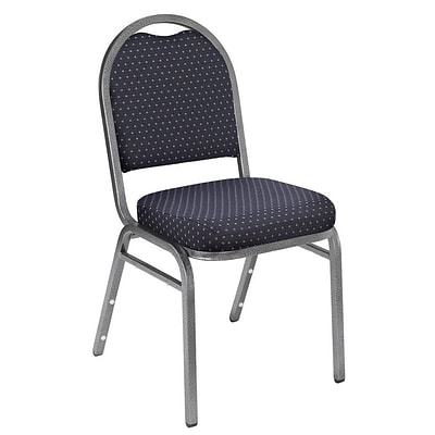 NPS #9264-SV Dome-Back Fabric Padded Stack Chair, Diamond Navy/Silvervein
