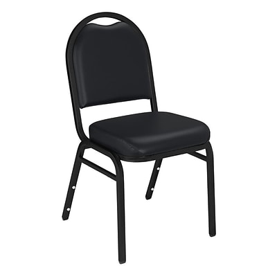 NPS #9210-BT Dome-Back Vinyl Padded Stack Chair, Panther Black/Black Sandtex