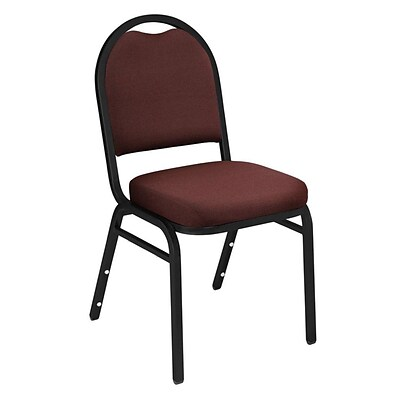 NPS #9258-BT Dome-Back Fabric Padded Stack Chair, Rich Maroon/Black Sandtex