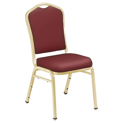 NPS #9308-G Silhouette-Back Vinyl Padded Stack Chair, Pleasant Burgundy/Gold