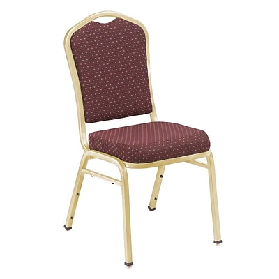 NPS #9368-G Silhouette-Back Fabric Padded Stack Chair, Diamond Burgundy/Gold