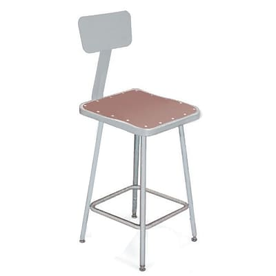 NPS® 18 Hardboard Square Stool With Backrest, Gray