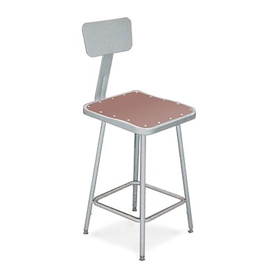 NPS® 24 Hardboard Square Stool With Backrest, Gray