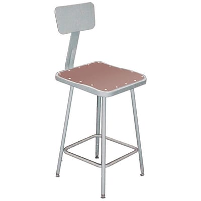 NPS® 30 Hardboard Square Stool With Backrest, Gray