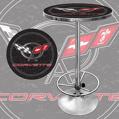 Trademark Global® 28 Solid Wood/Chrome Pub Table, Black, Corvette® C6