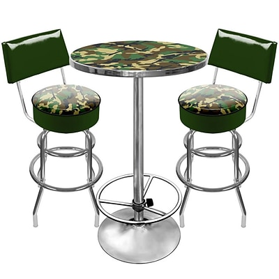 Trademark Global® 2 Bar Stools With Back and Table Gameroom Combo, Hunt Camo