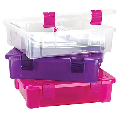 Creative Options File Tub, 17X15X5, clear/Magenta