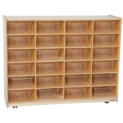 Wood Designs™ 24 - 5 Large Letter Tray Storage Unit With 24 Translucent Trays, Birch