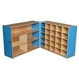 Wood Designs™ 36H Tray and Shelf Fold Storage Without Trays, Blueberry