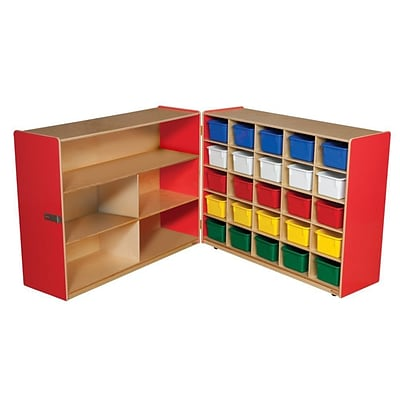 Wood Designs™ 36H Tray and Shelf Fold Storage With 25 Assorted Trays, Strawberry Red