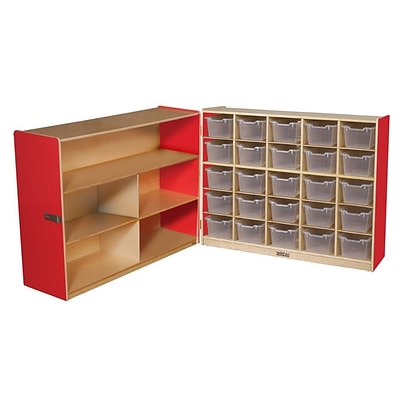 Wood Designs™ 36H Tray and Shelf Fold Storage With 25 Clear Trays, Strawberry Red