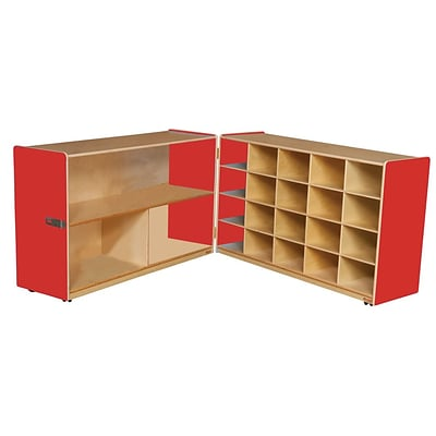 Wood Designs™ 30H Half and Half Storage Unit Without Trays, Strawberry Red