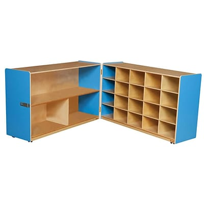 Wood Designs™ 30H Half and Half Storage Unit Without Trays, Blueberry