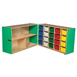Wood Designs™ 30H Half and Half Storage Unit With 20 Assorted Trays, Green Apple