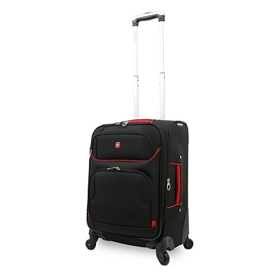 SwissGear® 24 Lightweight Spinner Upright Luggage Suitcase, Black With Red Accent