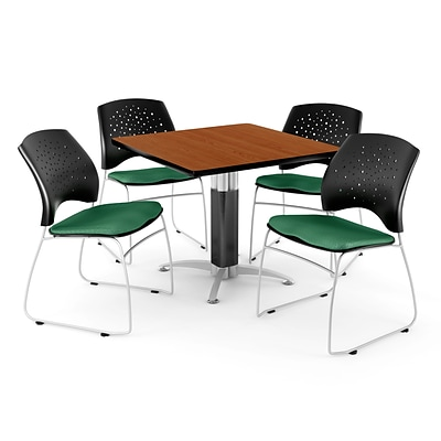 OFM™ 42 Square Cherry Laminate Multi-Purpose Table With 4 Chairs, Shamrock Green