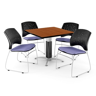 OFM™ 42 Square Cherry Laminate Multi-Purpose Table With 4 Chairs, Lavender