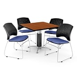 OFM™ 42 Square Cherry Laminate Multi-Purpose Table With 4 Chairs, Colonial Blue