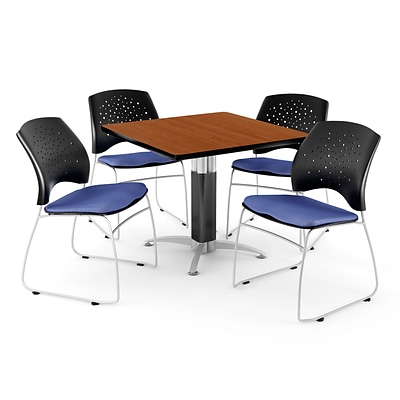 OFM™ 36 Square Cherry Laminate Multi-Purpose Table With 4 Chairs, Colonial Blue