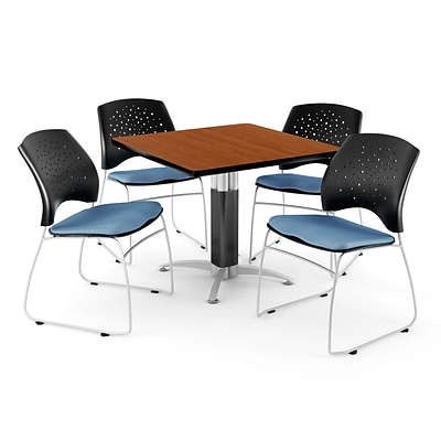 OFM™ 36 Square Cherry Laminate Multi-Purpose Table With 4 Chairs, Cornflower Blue