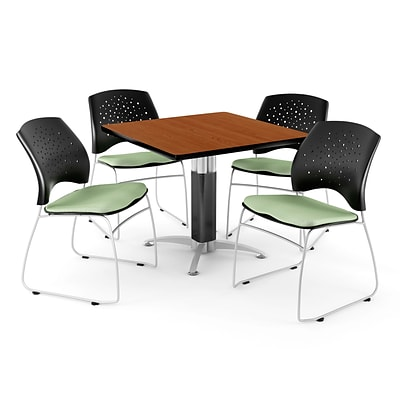 OFM™ 36 Square Cherry Laminate Multi-Purpose Table With 4 Chairs, Sage Green
