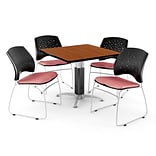 36 Coral Pink SQR Cherry LAM Table W/4 CHR