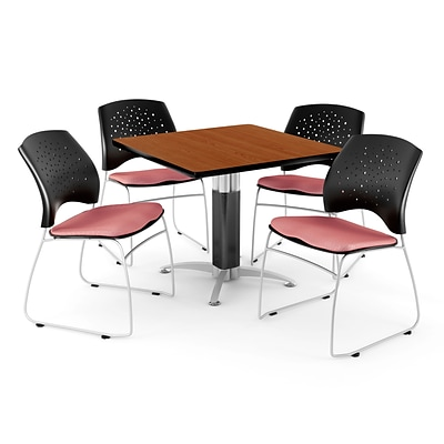 OFM™ 36 Square Cherry Laminate Multi-Purpose Table With 4 Chairs, Coral Pink