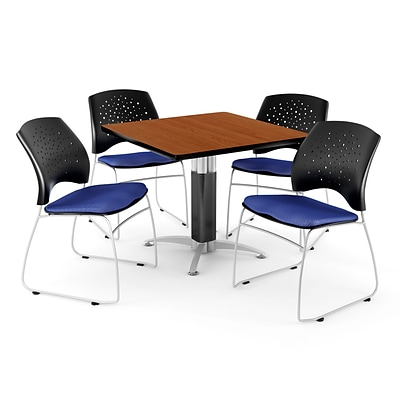 OFM™ 36 Square Cherry Laminate Multi-Purpose Table With 4 Chairs, Royal Blue